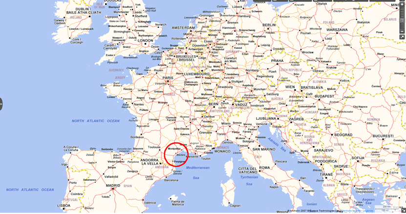 Map of Europe, showing Montpellier